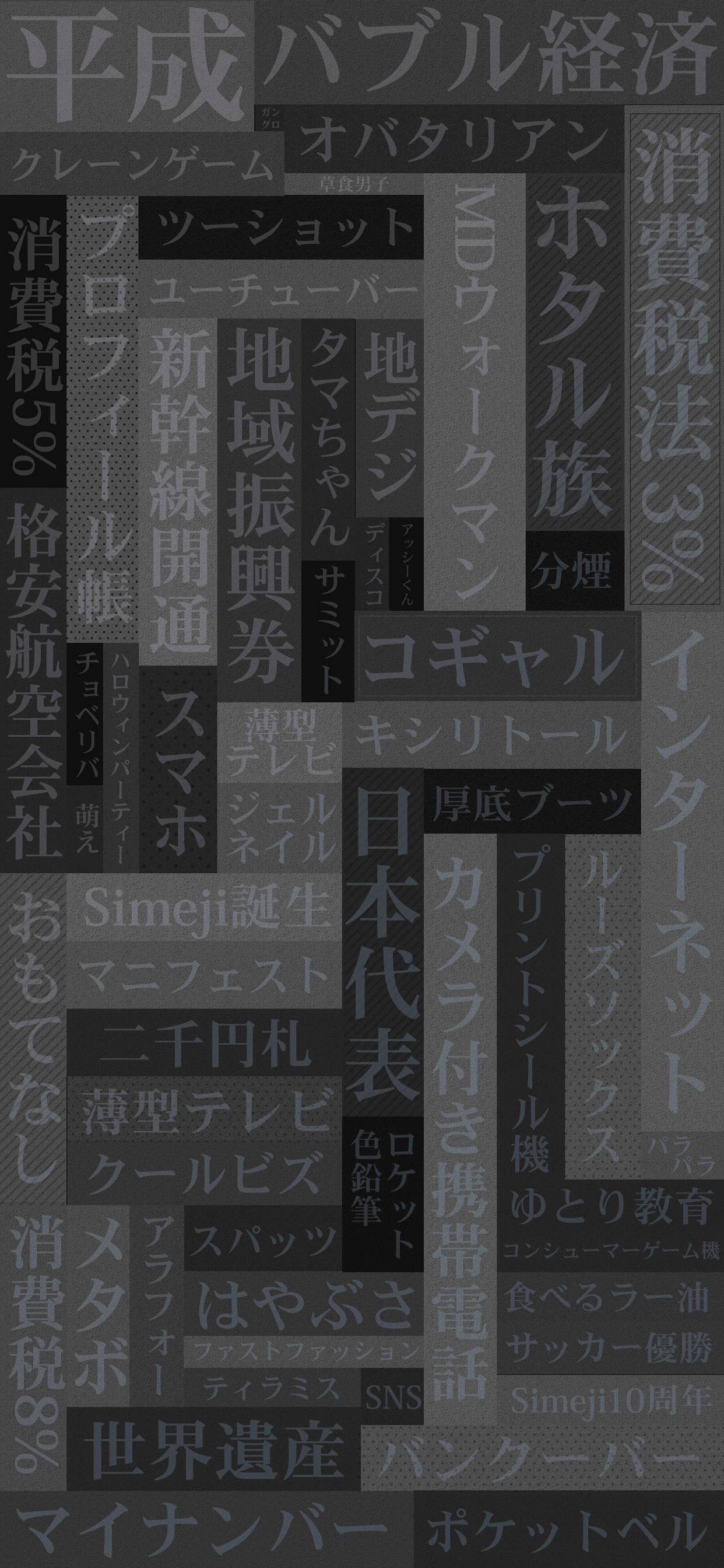 平成で起きた出来事をキーワード化した背景画像モノトーン
